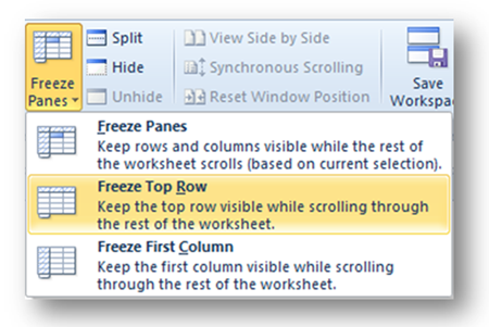 Use Freeze Panes to Keep Row and Column Headings Visible